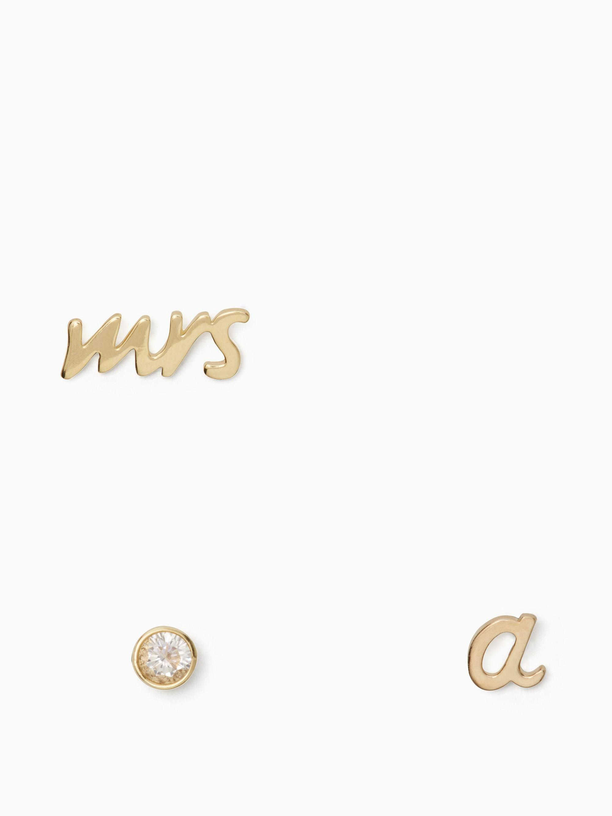 Kate Spade Save The Date Mrs. Initial Stud Set In A