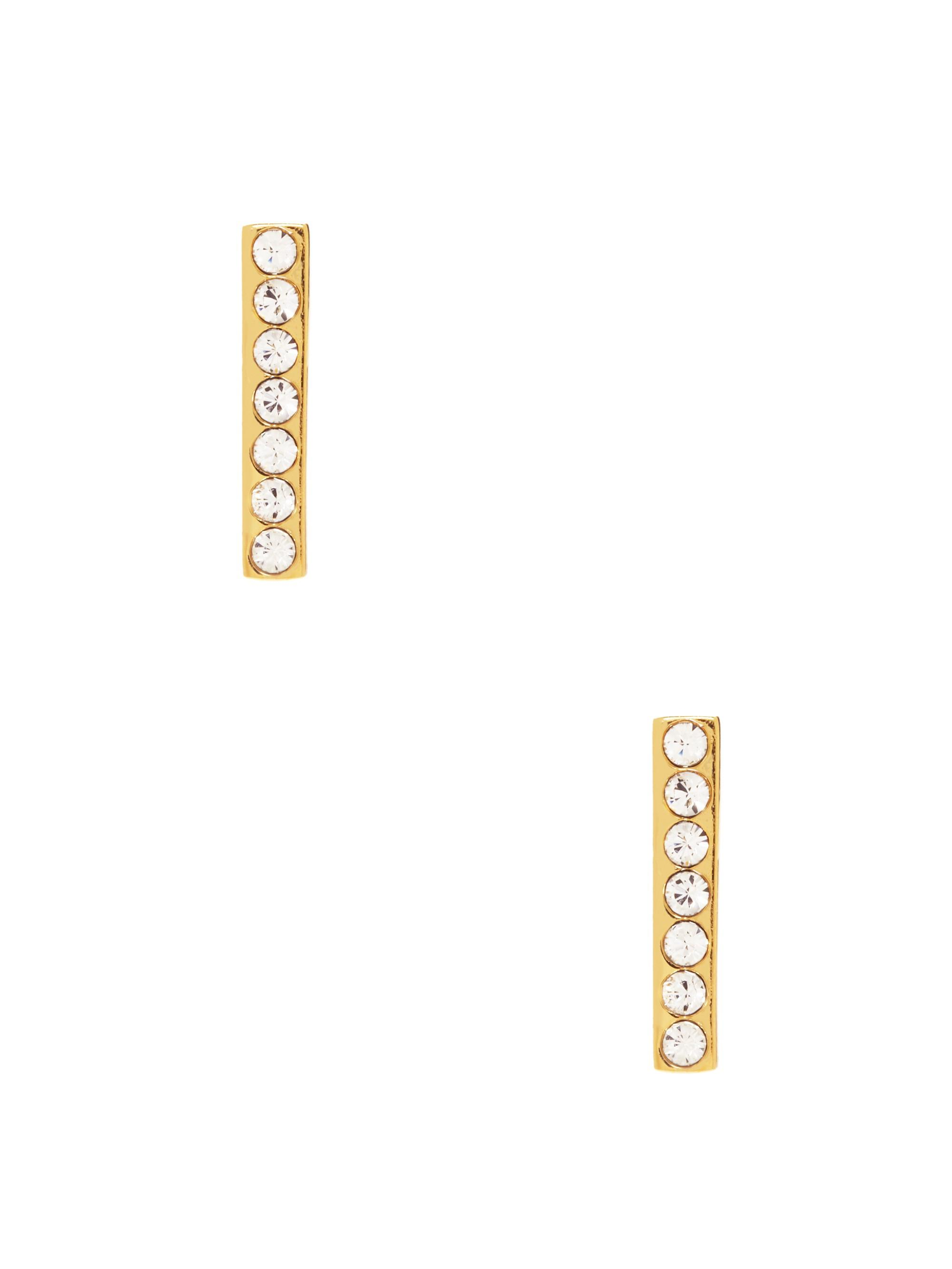 Kate Spade Dainty Sparklers Bar Studs In Clear