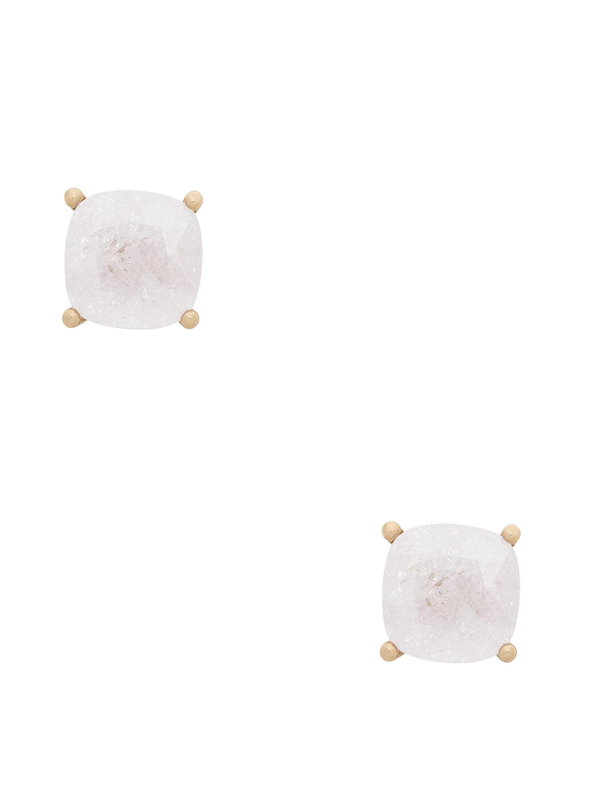 Kate Spade Mini Small Square Studs In Clear/gold