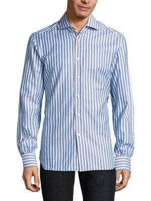 Kiton Striped Button-down Shirt In Blue