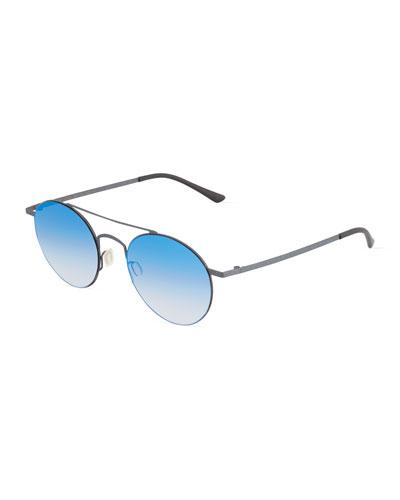 Kyme Metal Round Sunglasses In Blue/black