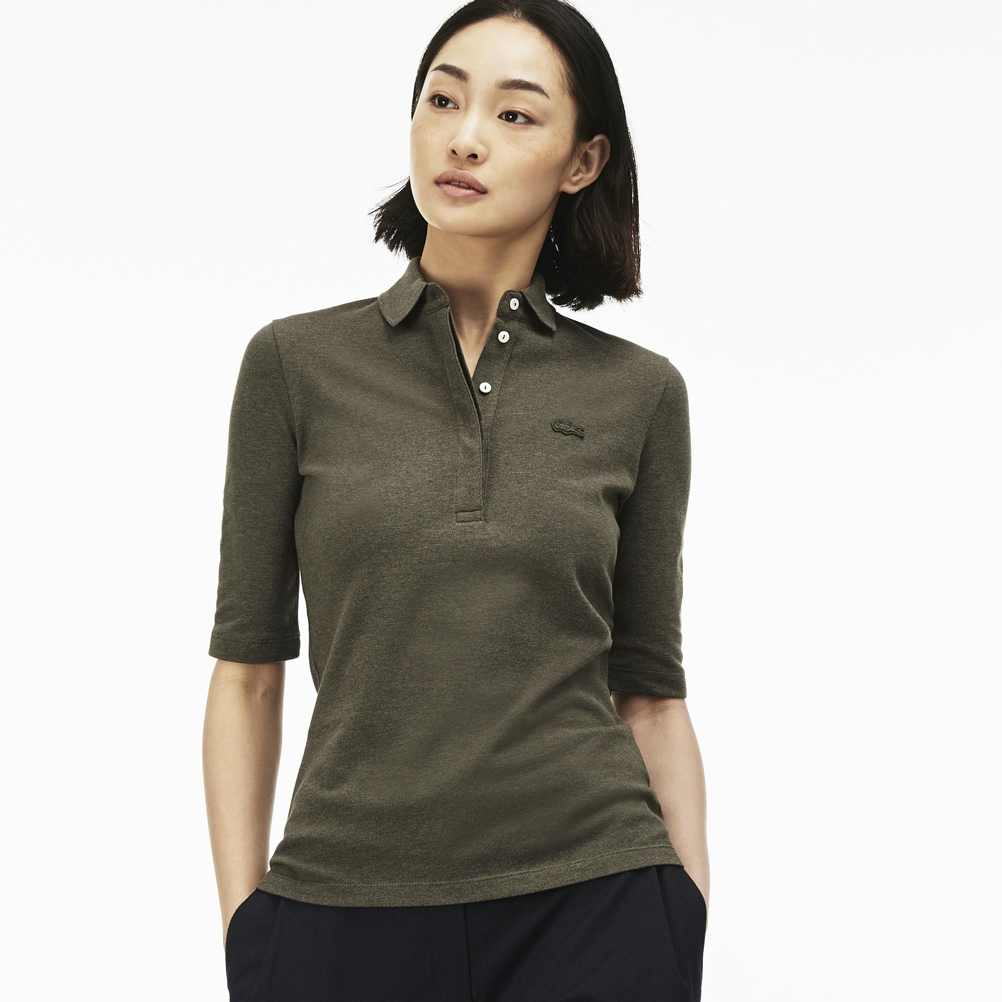 43a33b6011 Lacoste Women's Slim Fit Stretch Mini Piqué Polo Shirt In Aventurine Chine