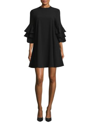 Laundry By Shelli Segal Three-tier Sleeve Dress In Black