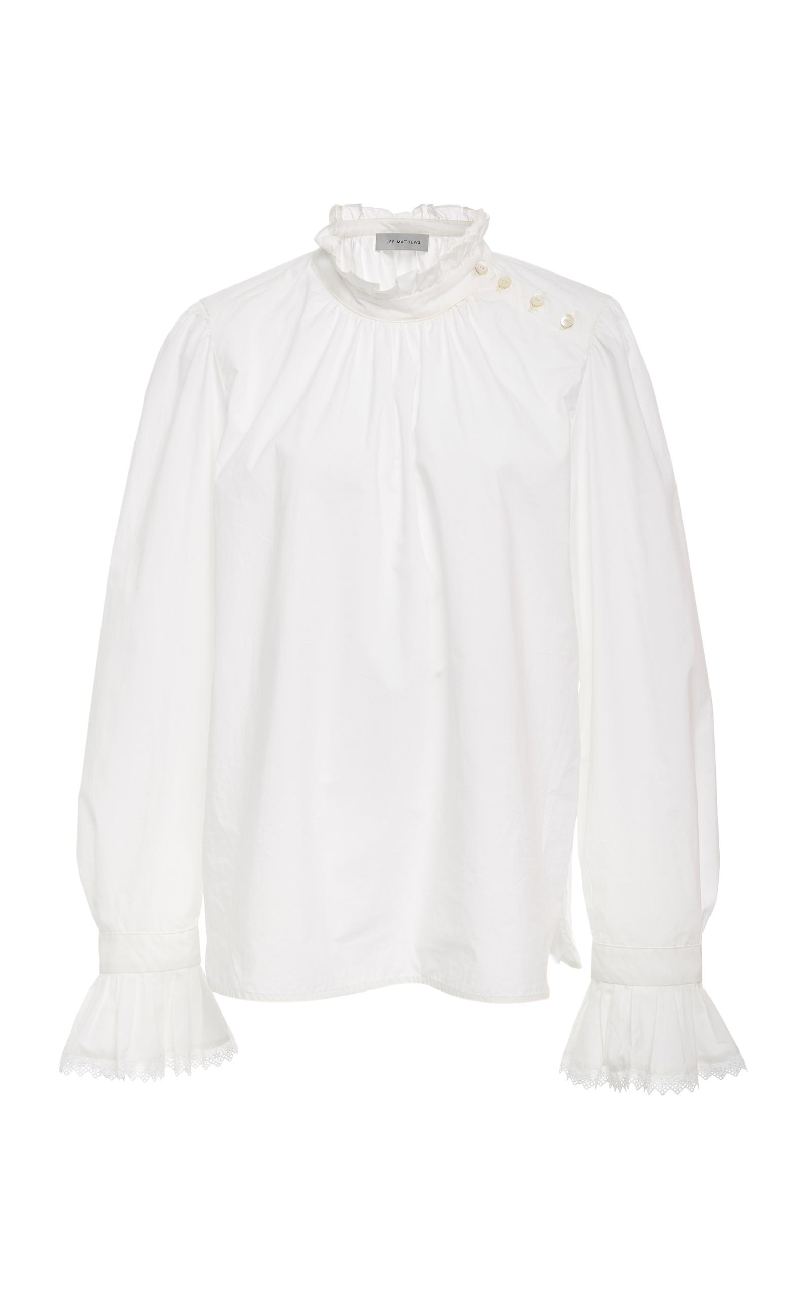 Lee Mathews Marnee Poplin Lace Top In White