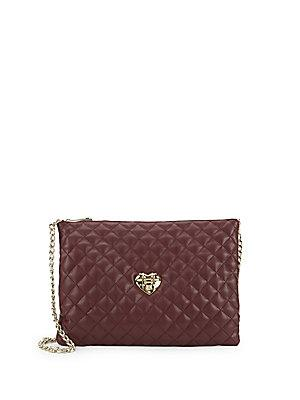 Love Moschino Quilted Faux Leather Crossbody Bag In Dark Red
