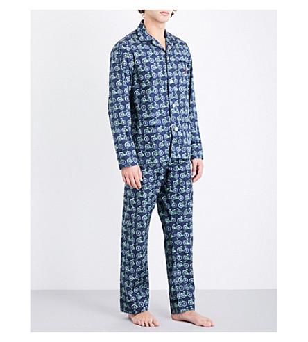 Maison Marcy Bicycle-print Cotton Pyjama Set In Navy Green