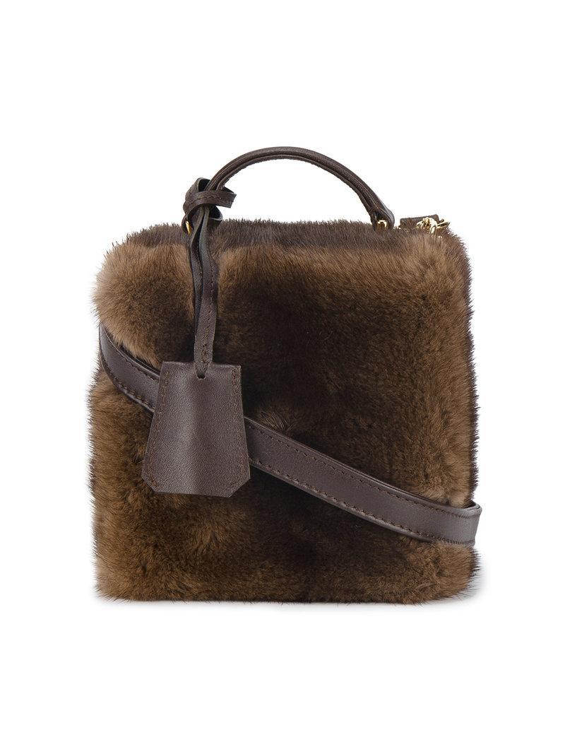 Natasha Zinko Mink Fur Square Box Bag In Brown