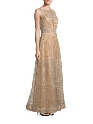 Nero By Jatin Varma Sequin A-line Gown In Gold