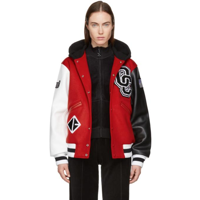 Opening Ceremony Red Hooded Varsity Bomber Jacket In 6201 Jewel