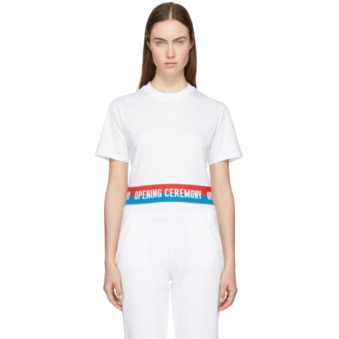 Opening Ceremony White Cropped Elastic Logo T-shirt In 1100 White
