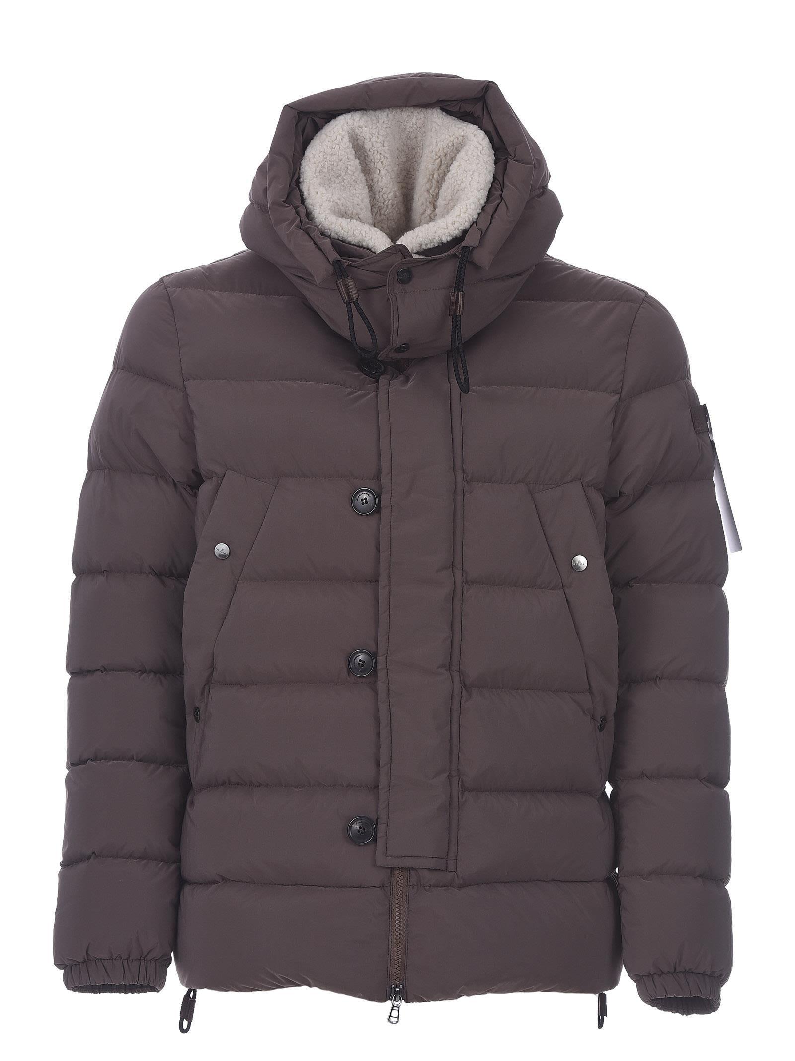 Peuterey Down Jacket Gripen Eco Fur In Marrone