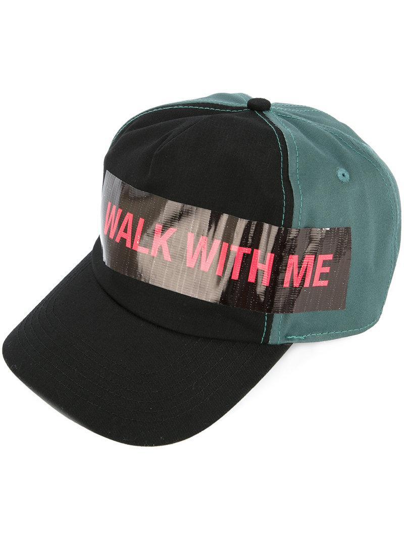 8b9d880de57 Raf Simons Cotton Baseball Hat W  Walk With Me Tape In Black Petrol ...