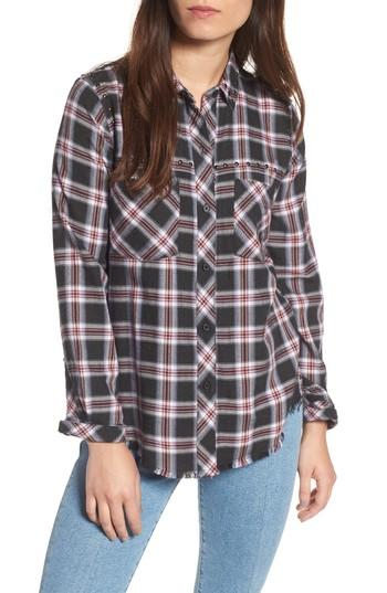 Rails Rex Studded Plaid Shirt In Charcoal/ Berry/ Blush