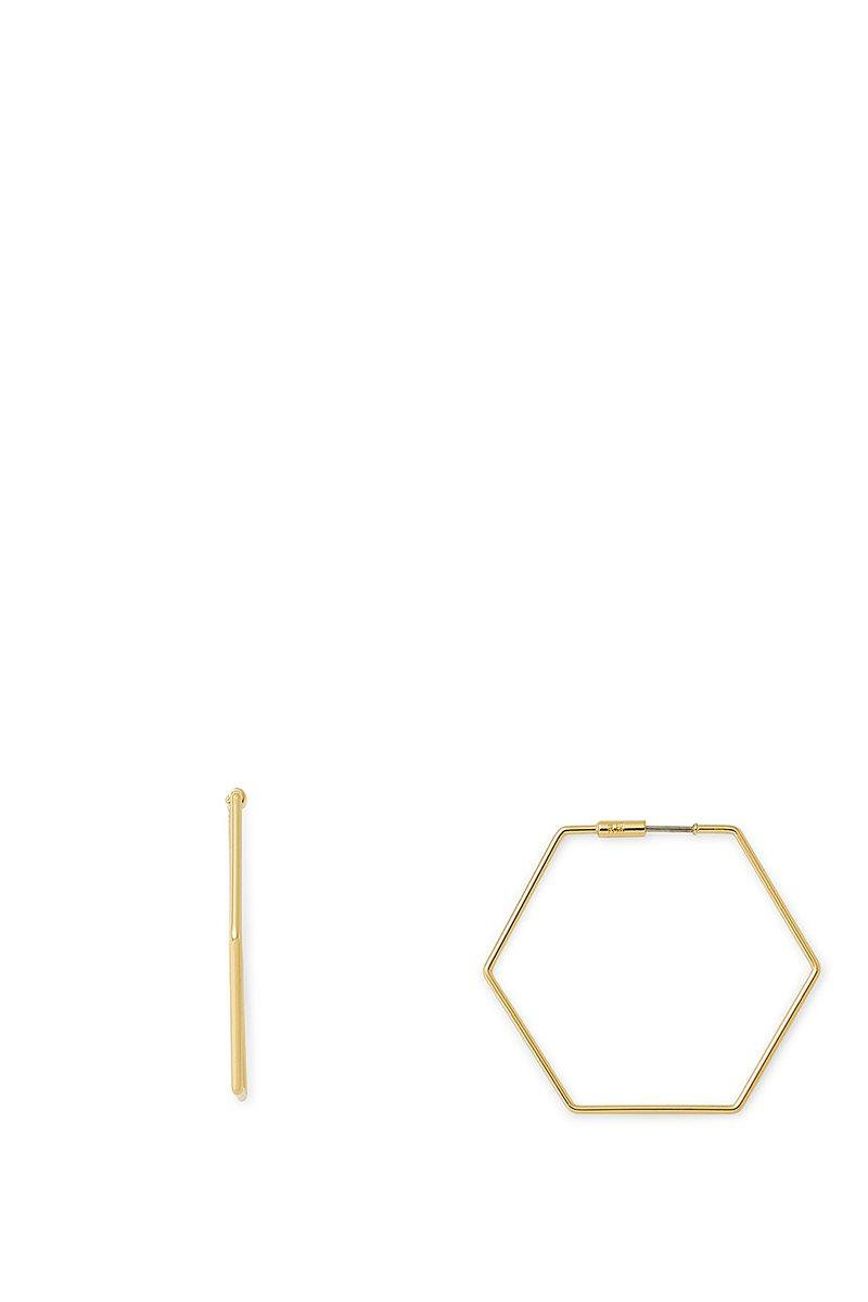 Rebecca Minkoff Hexagonal Hoop Earring In Gold