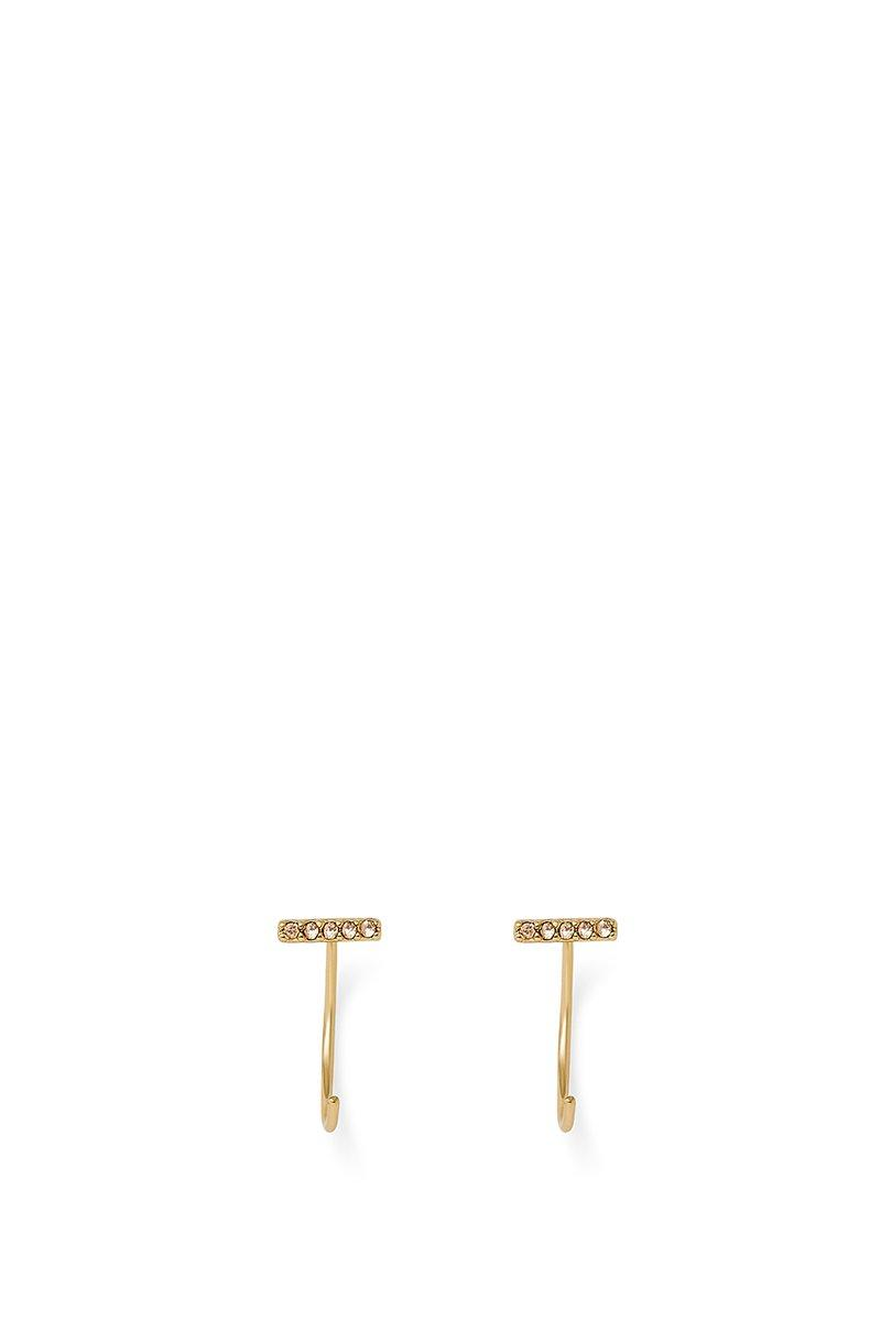 Rebecca Minkoff Pave Baby Bar Threader Hoop Earrings In Gold