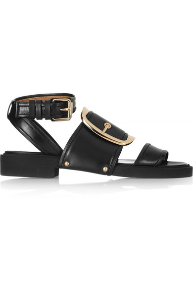 Givenchy Viktor Buckle Calfskin Leather Sandals In Black