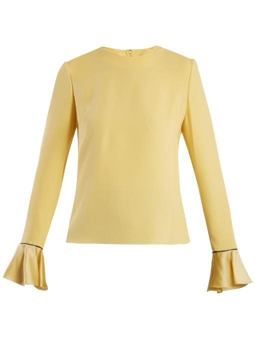 Roksanda Saba Tie-neck Double-georgette Blouse In Yellow