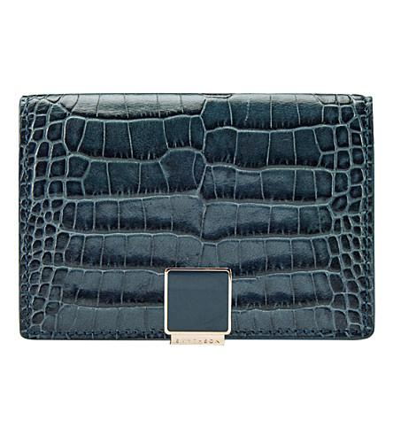 Smythson Mara Leather Business And Credit Card In Storm Blue