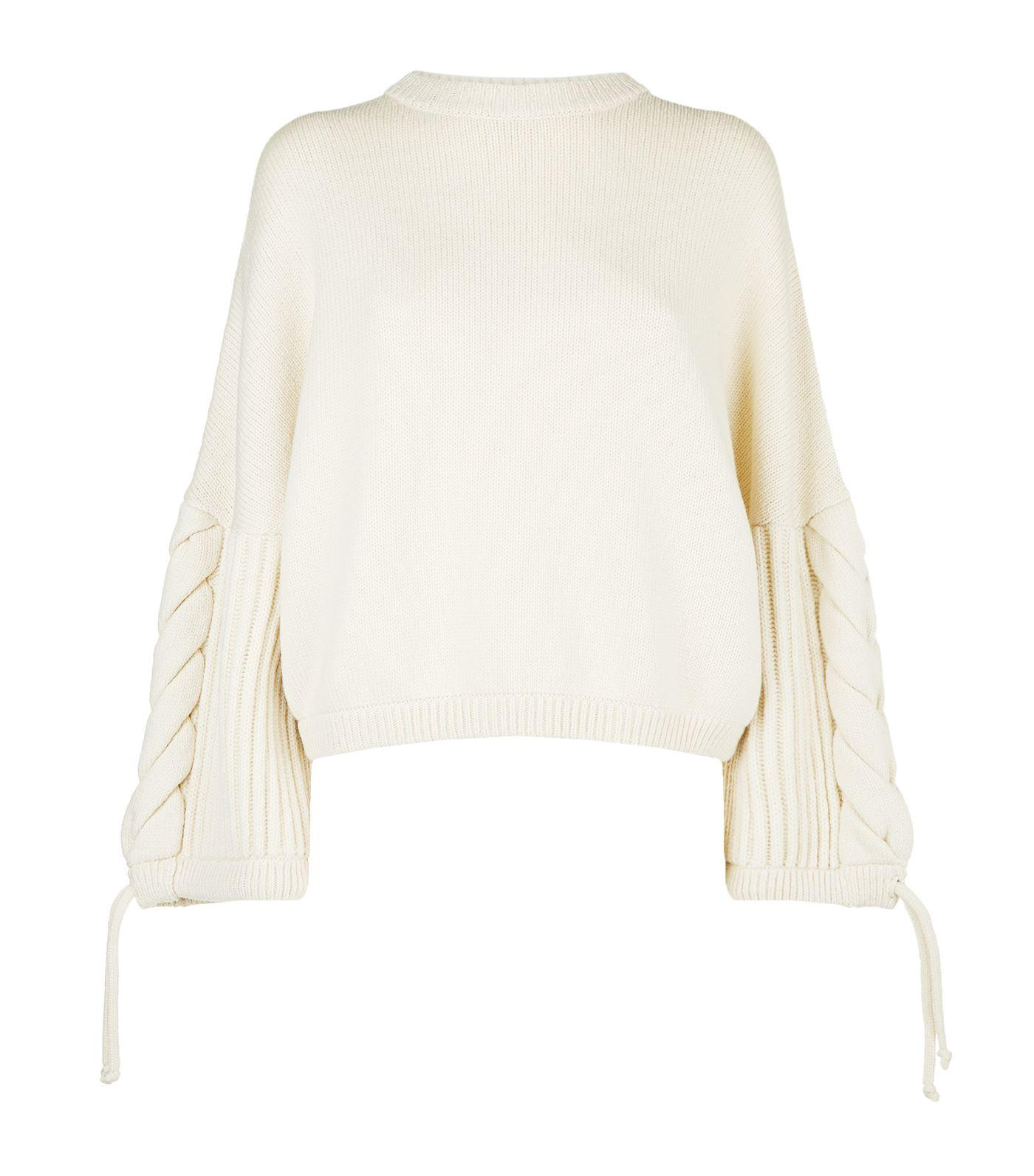 Sportmax Cropped Rib Knit Sweater In Ivory