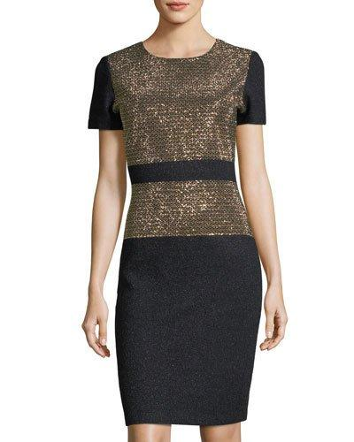 St. John Short-sleeve Beaded-bodice Dress In Black