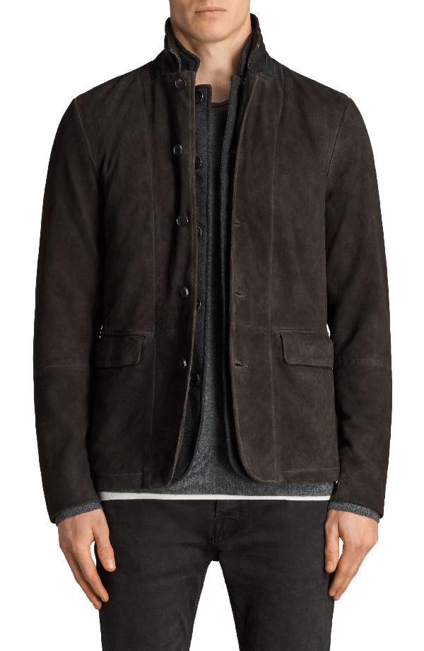 Allsaints Survey Regular Fit Leather Blazer In Anthracite Grey
