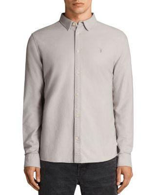 Allsaints Huntingdon Slim Fit Button-down Shirt In Pebble