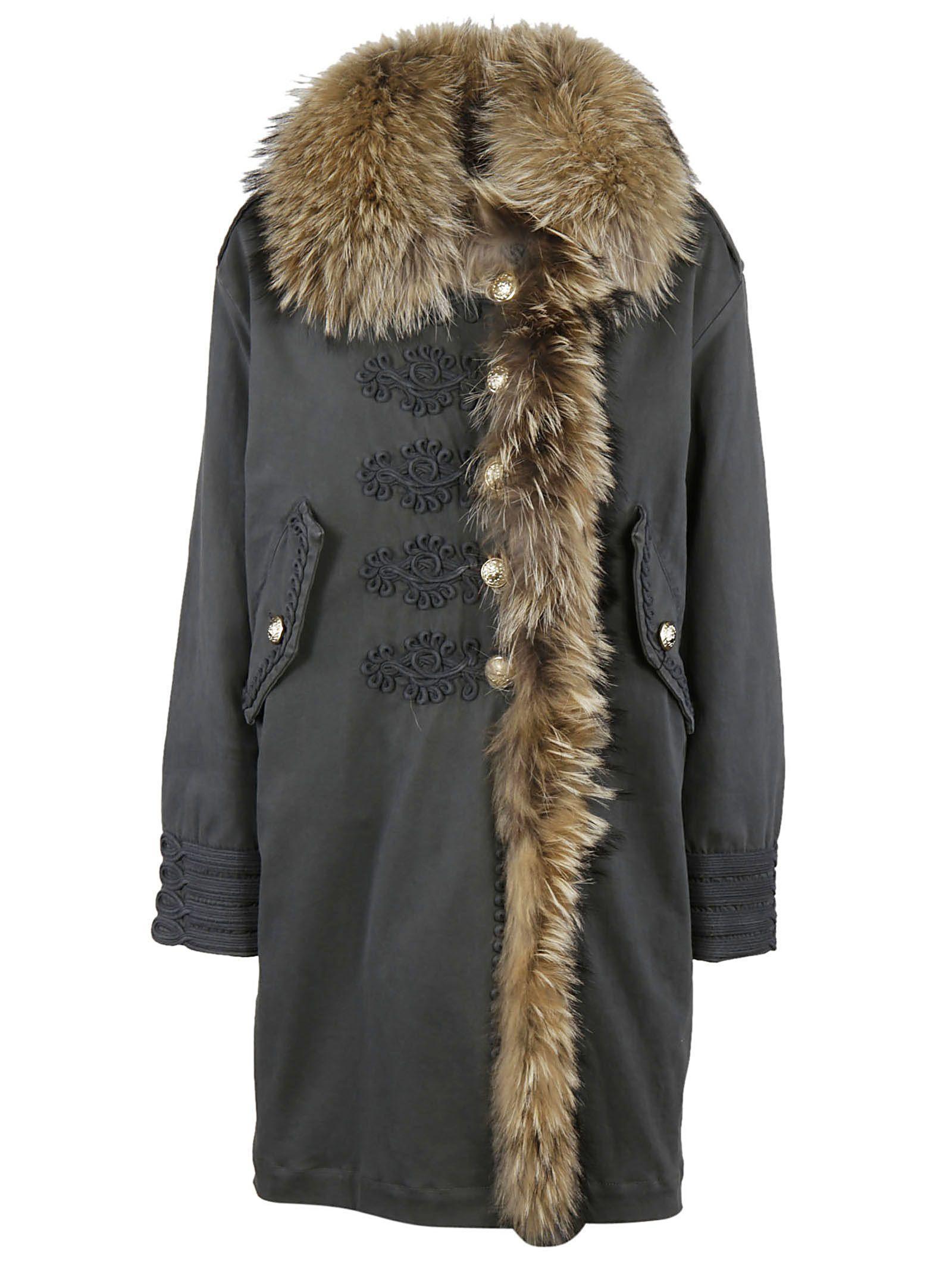 Bazar Deluxe Fur Trim Coat In Grey