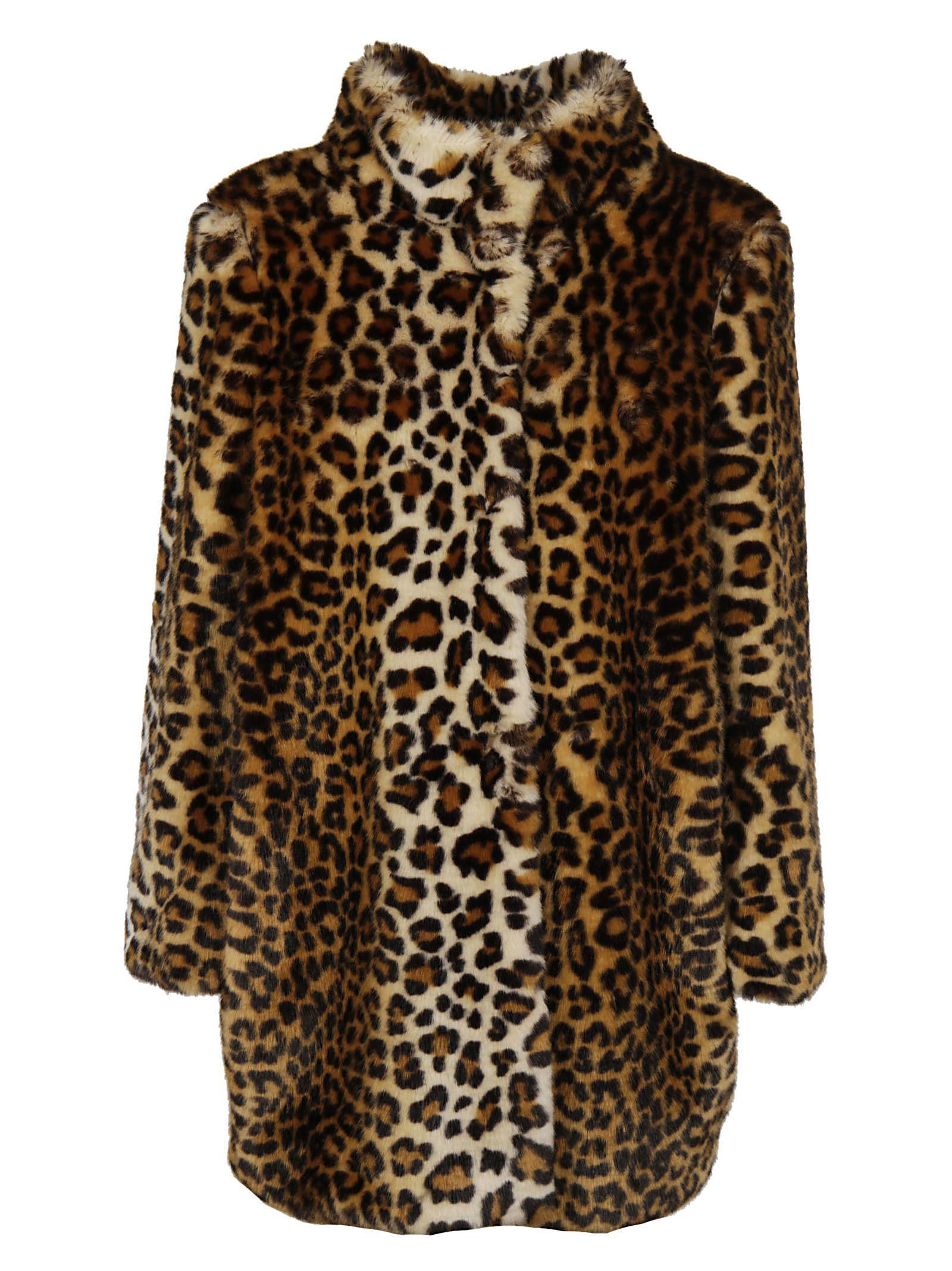 Blugirl Leopard High Neck Coat In Multicolored
