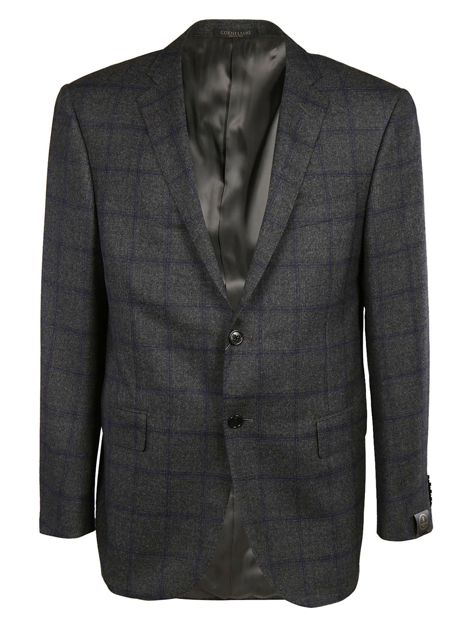 Corneliani Checked Blazer In Grey