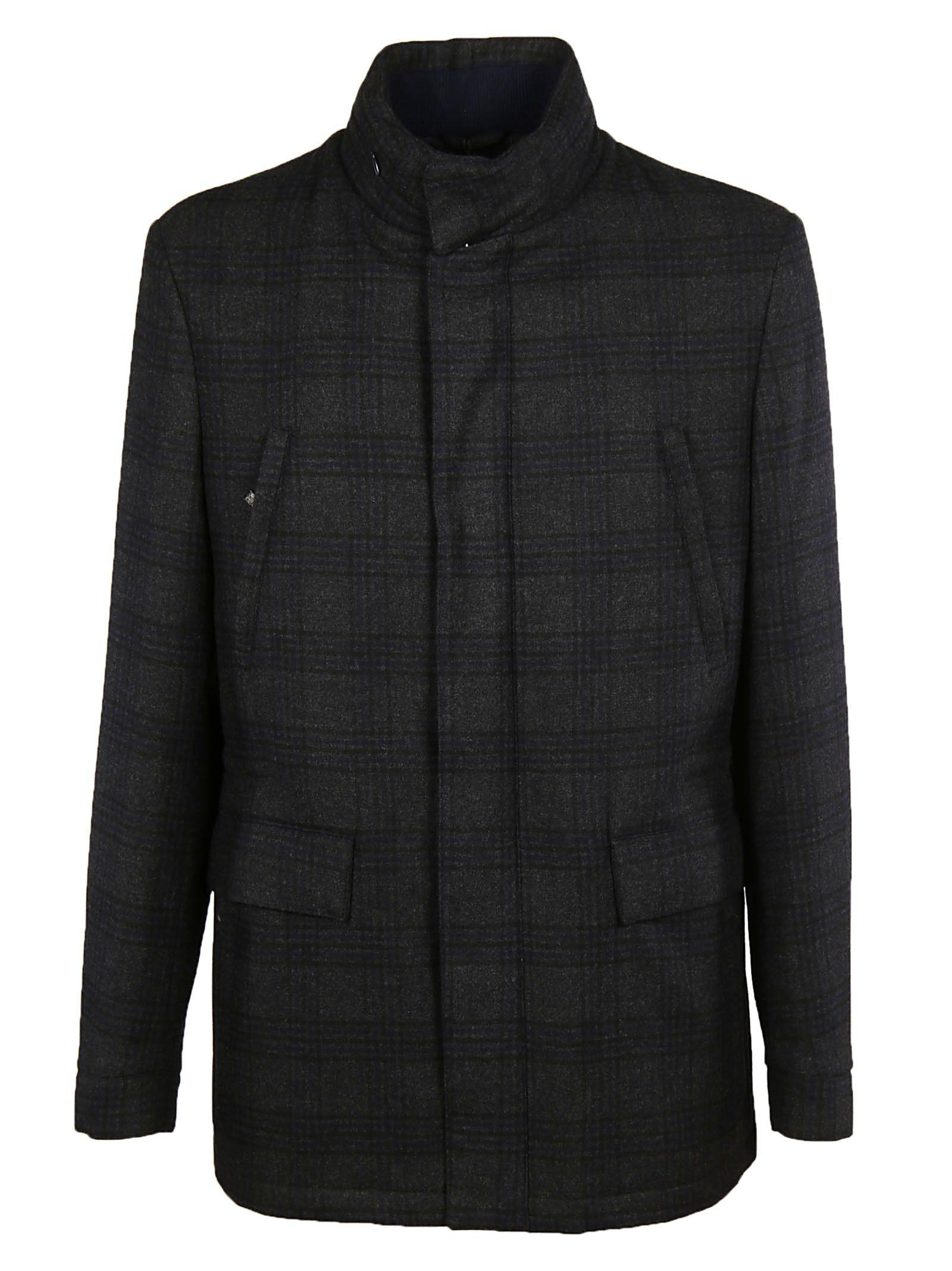 Corneliani Checked Single-breasted Coat In Black