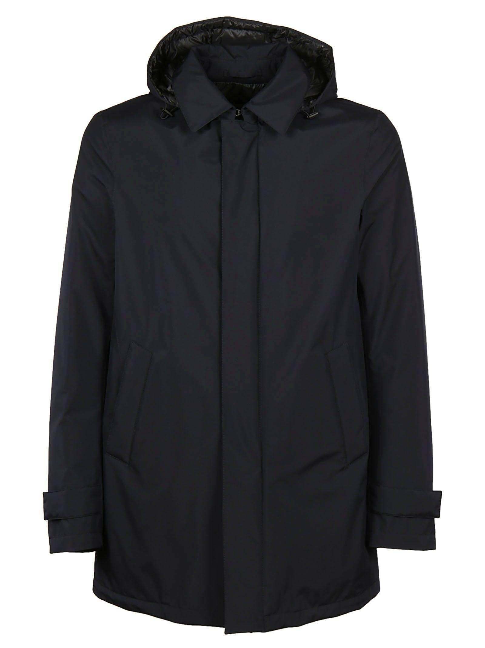 Herno Hooded Classic Coat In Black