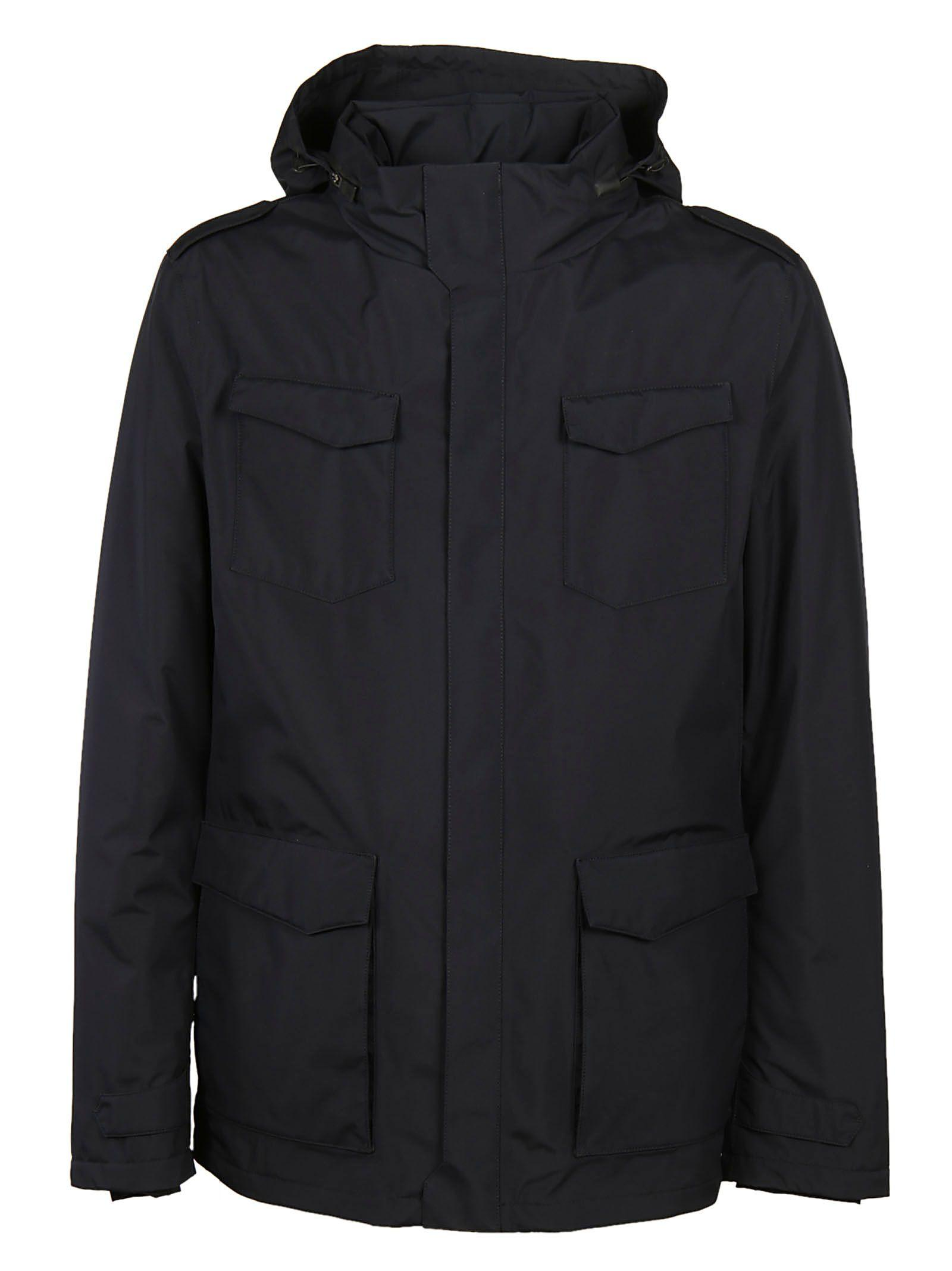 Herno Classic Fitted Jacket In Blue