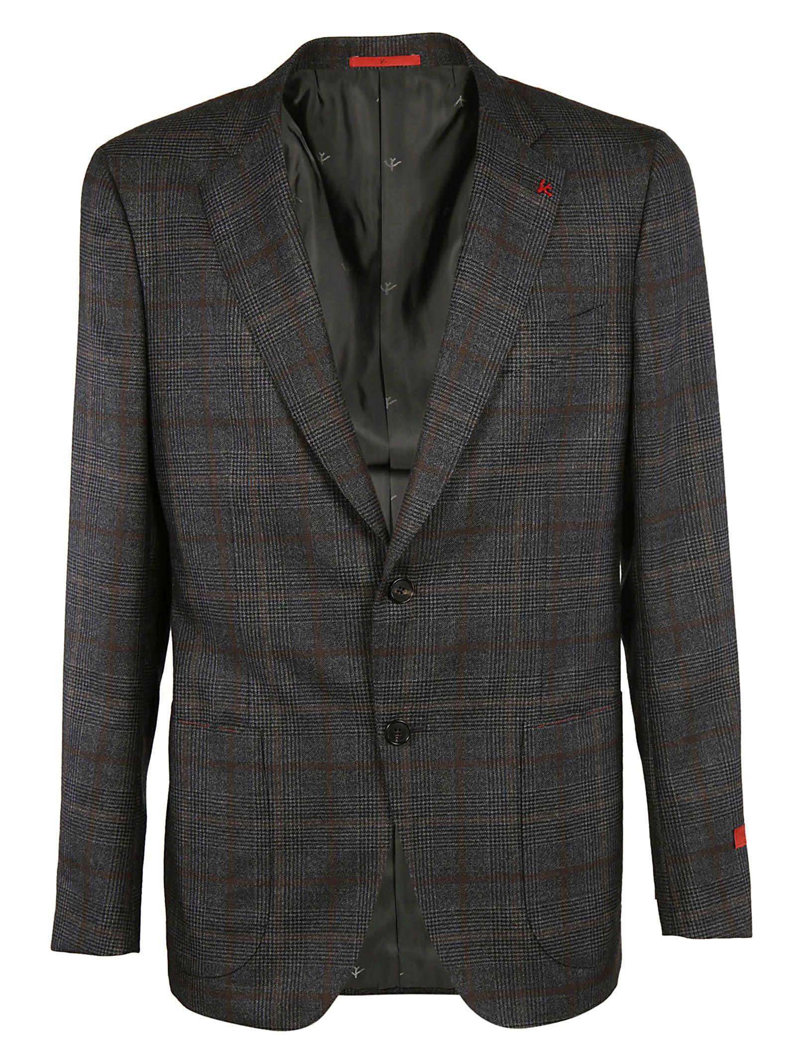 Isaia Checked Classic Blazer In Grey