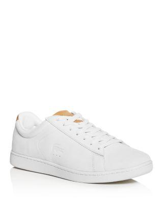 Lacoste Men's Carnaby Nubuck Leather Lace Up Sneakers In Off White