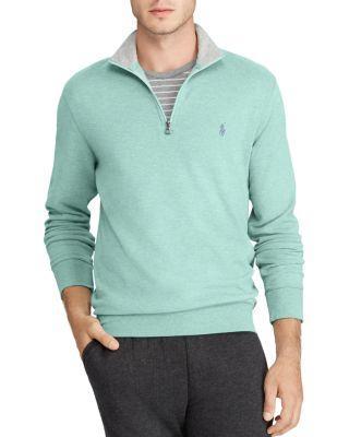 Polo Ralph Lauren Haf-zip Sweatshirt In Green Heather