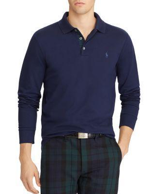 Polo Ralph Lauren Custom Slim Fit Mesh Long Sleeve Polo Shirt In Navy