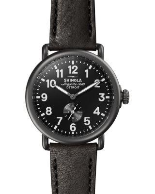 Shinola 'The Runwell' Leather Strap Watch, 41Mm In Black/ Gunmetal