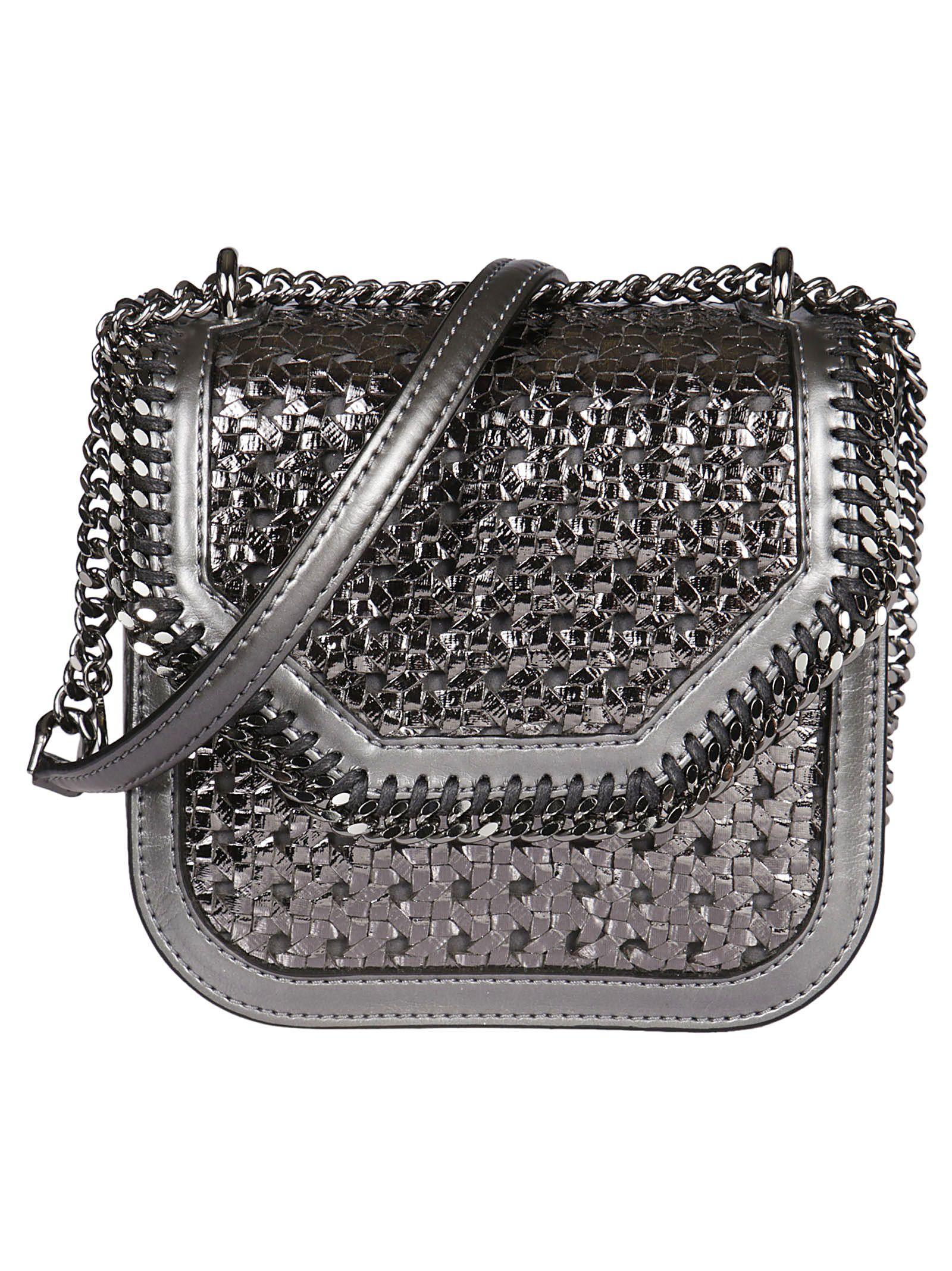 Stella Mccartney Wicker Falabella Box Shoulder Bag In Silver
