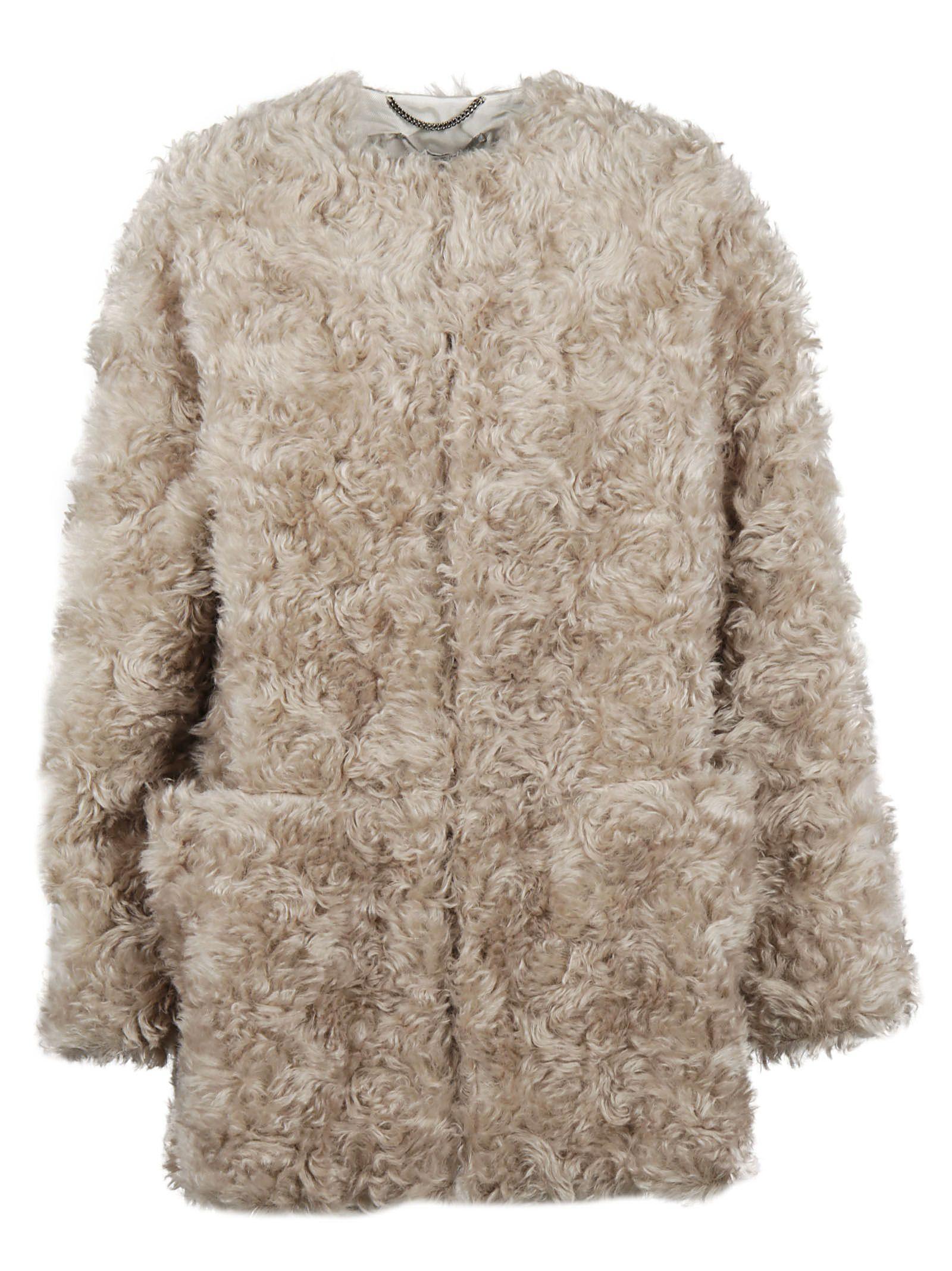 Stella Mccartney Fur Coat In Beige