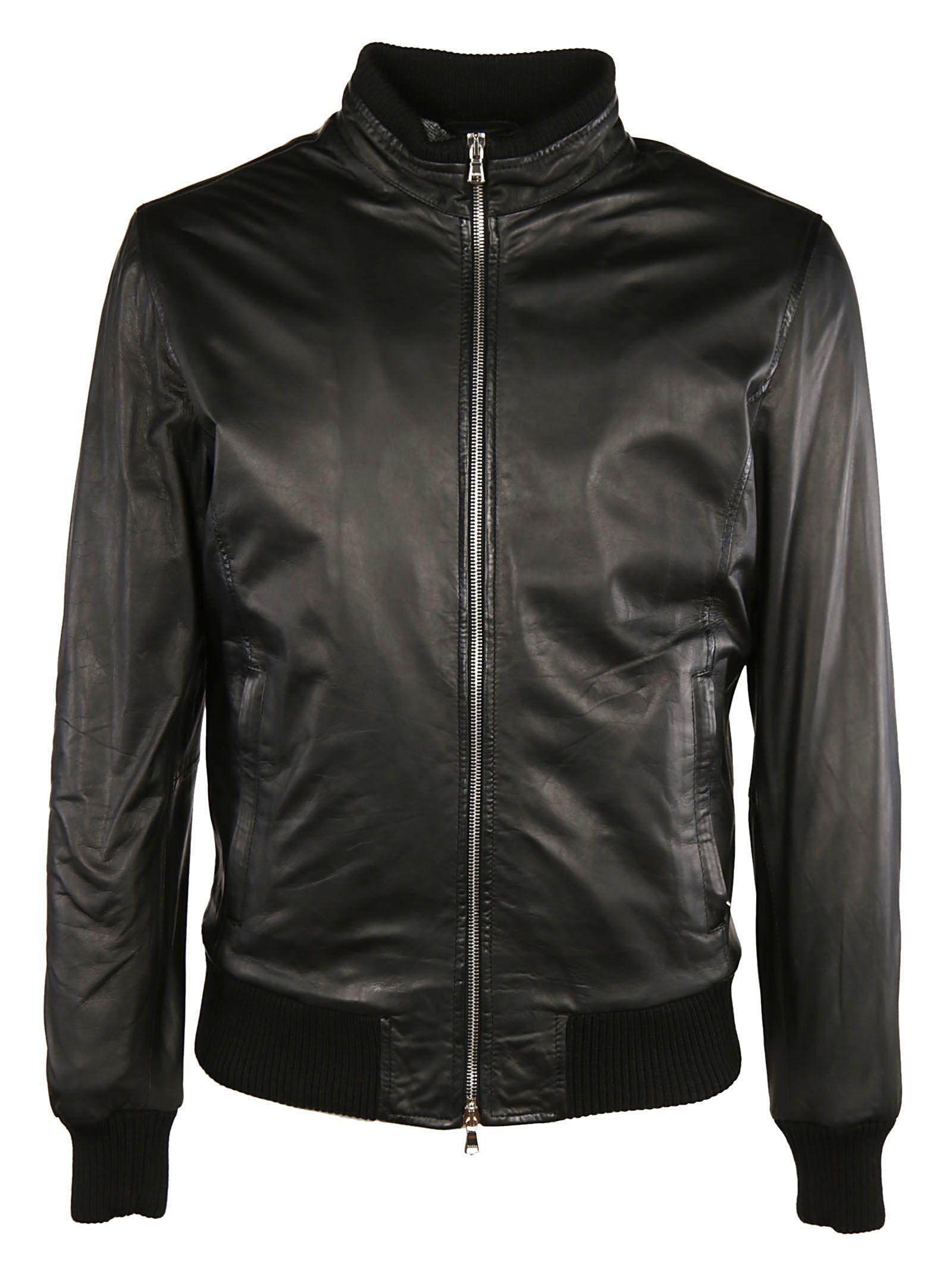 Barba Zipped Bomber Jacket In Black