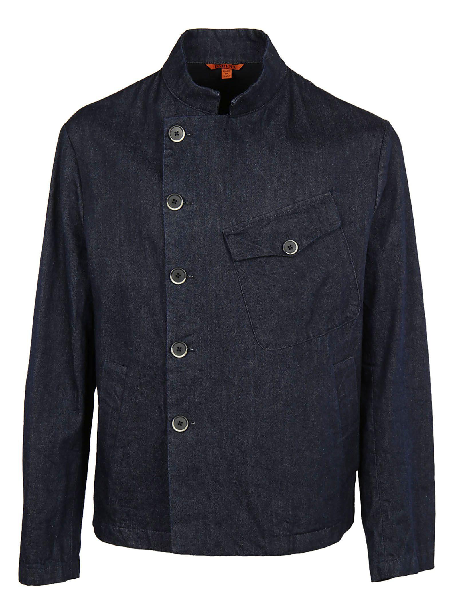 Barena Venezia Dislocated Fastening Denim Jacket In Dark Grey