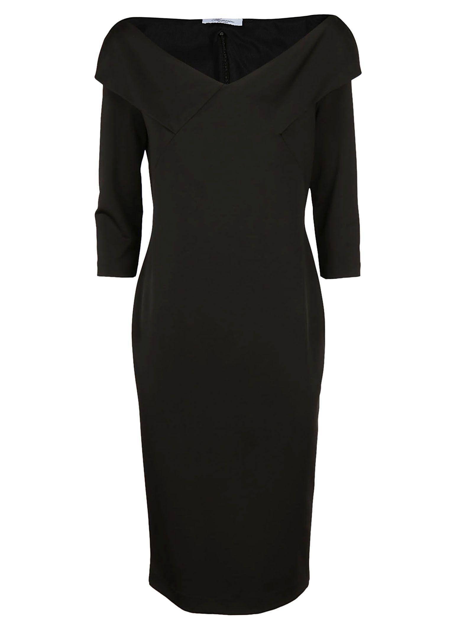 Blumarine Off-shoulder Fitted Dress In Black