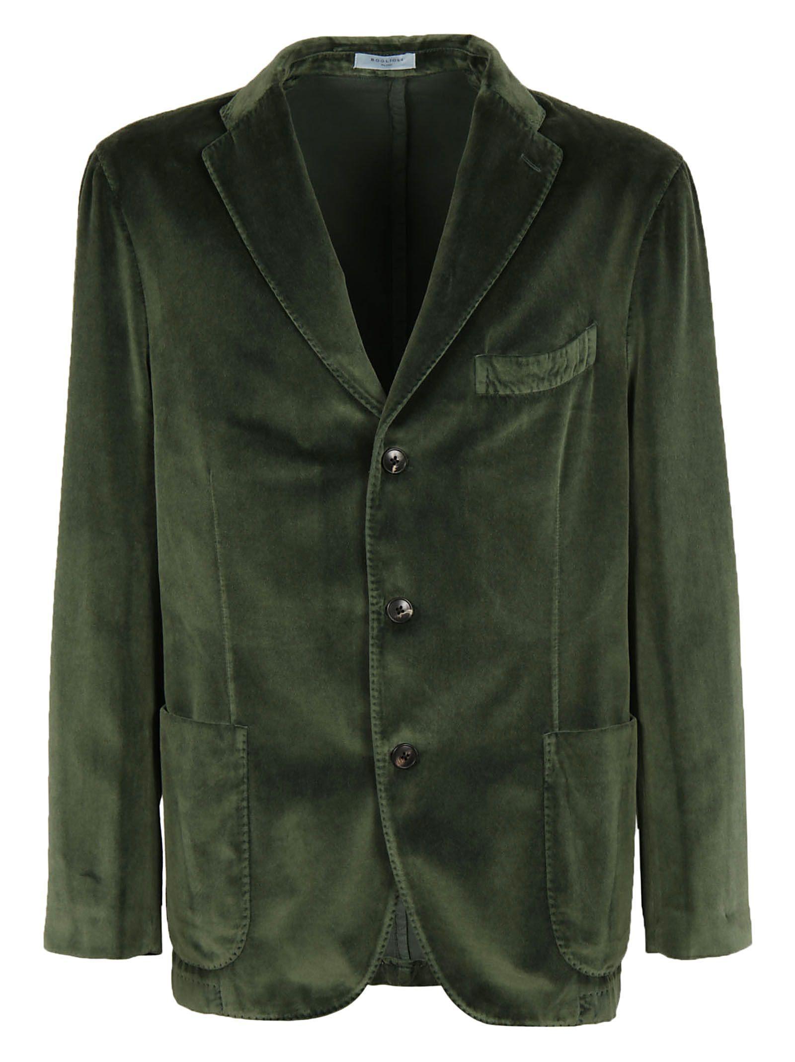 Boglioli Velvet Three Button Jacket In Green