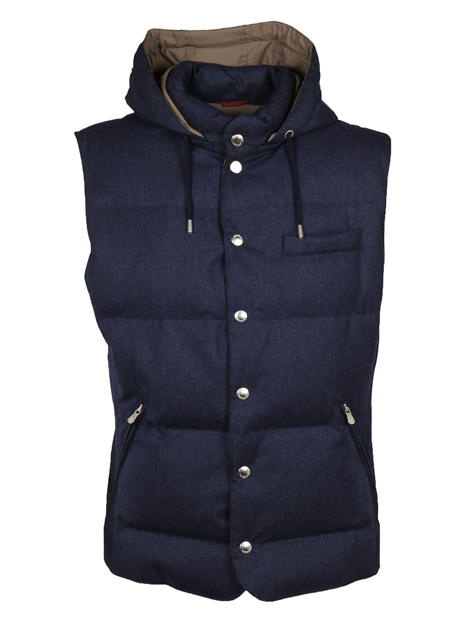 Brunello Cucinelli Hooded Padded Gilet In Blue
