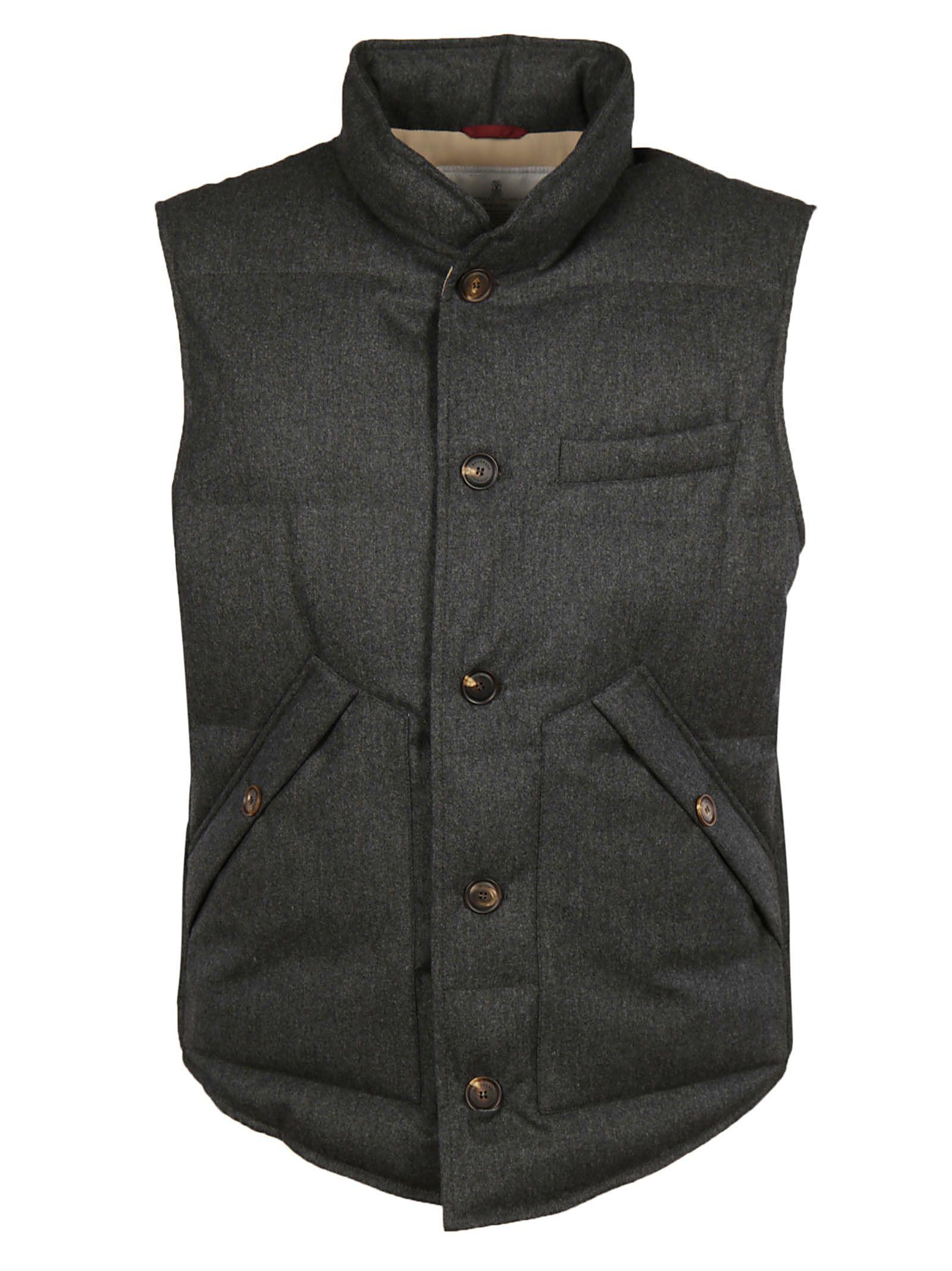 Brunello Cucinelli High Neck Gilet In Black