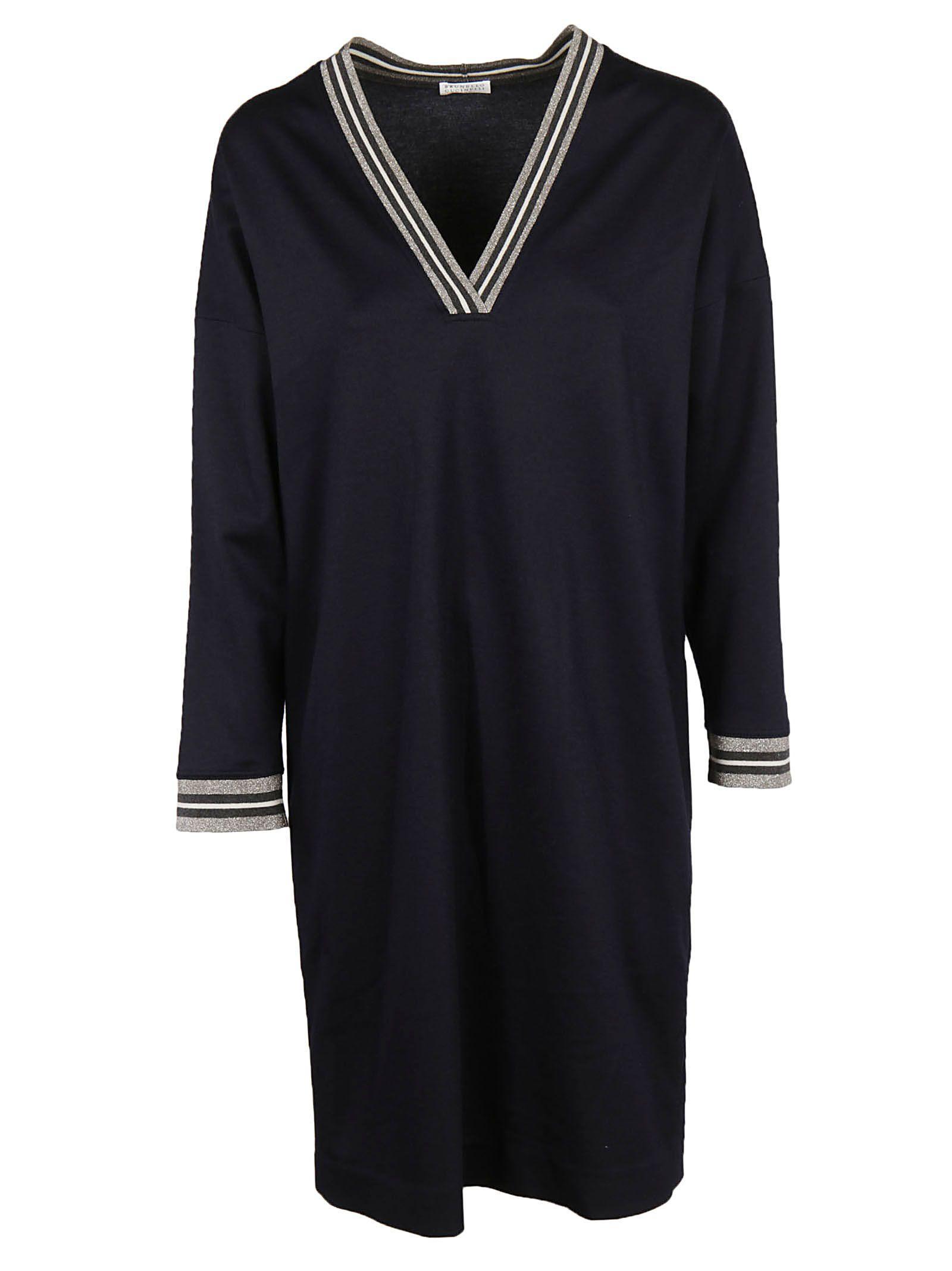 Brunello Cucinelli Classic Stripe Dress In Black