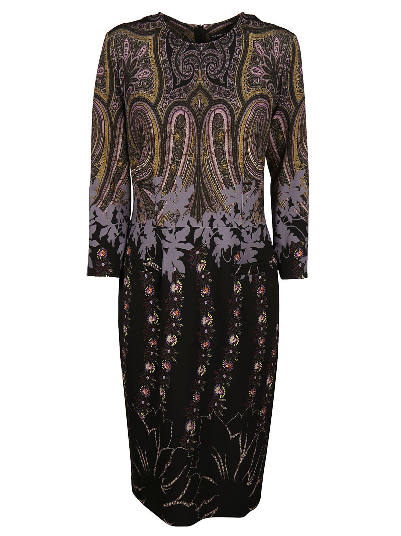 Etro Paisley Print Dress In Black