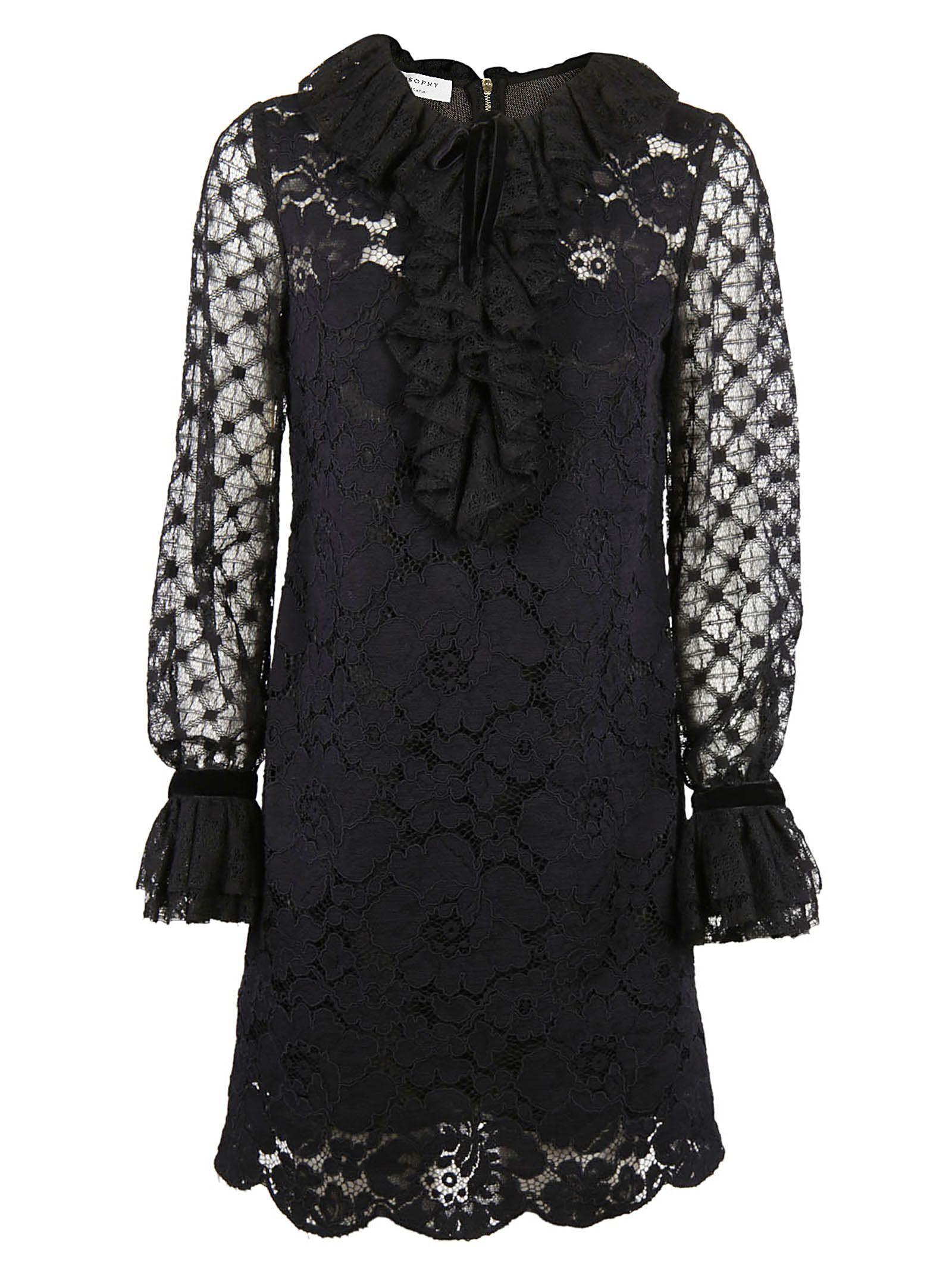 Philosophy Di Lorenzo Serafini Ruffled Lace Dress In Black