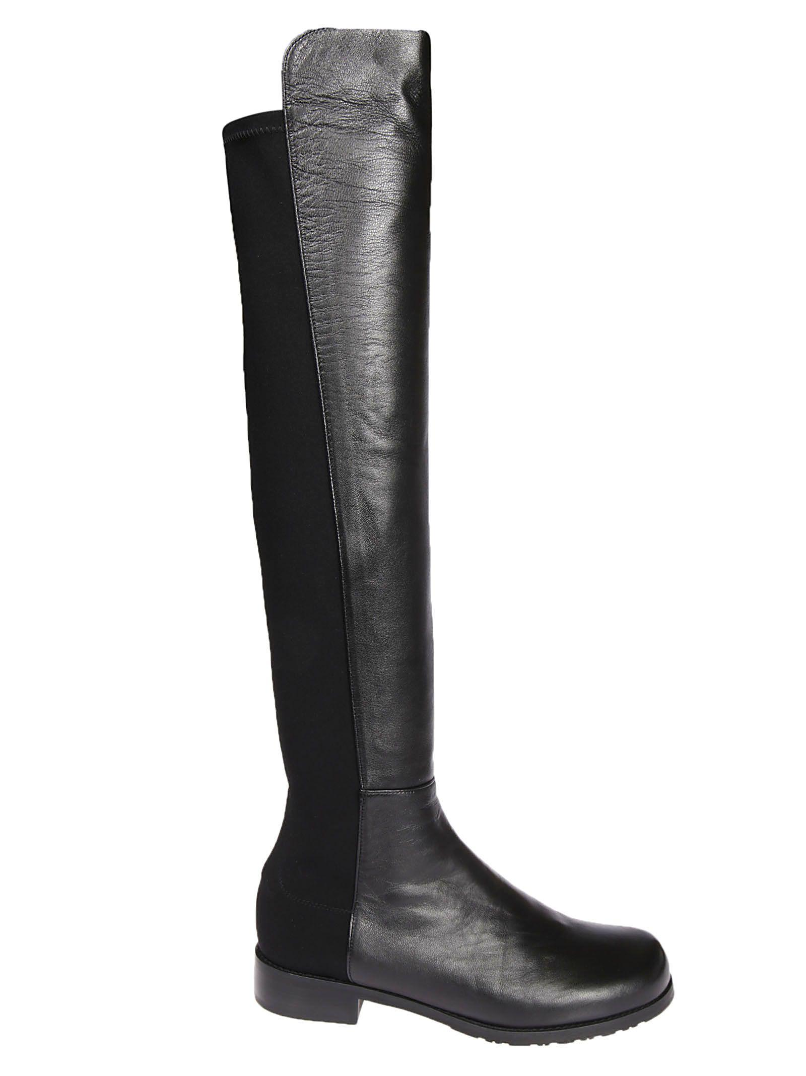 Stuart Weitzman Contrast Over-the-knee Boots In Black