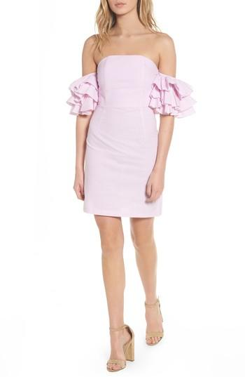 Stylekeepers The Malibu Off The Shoulder Dress In Pinstriped Pink